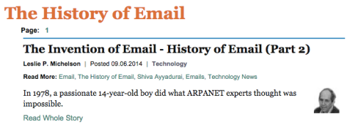 Article about alleged email inventor