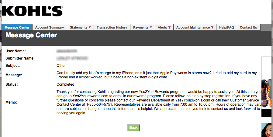 kohls doesnt read customer service queries