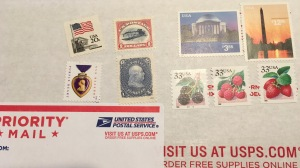Vintage stamps pay for Priority Mail