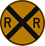 railroad crossing sign with big X