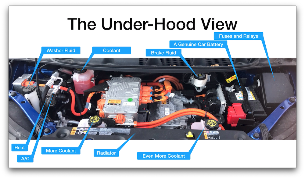 Under the Chevy Bolt hood, pointing out fluid reservoirs (washer, brakes, and 3 for coolant), battery, HVAC, relays, etc.